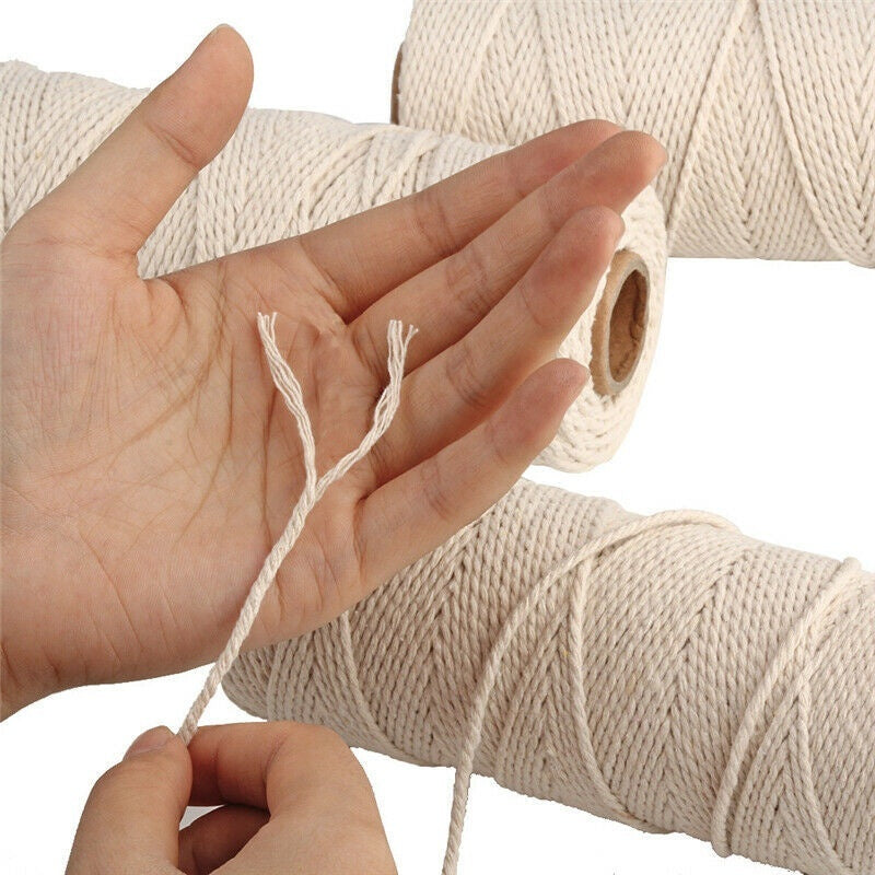 1/2/3mm DIY Macrame Cord Twisted Cord Natural Beige Cotton Rope Artisan Macrame String DIY Crafts