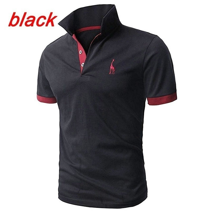 Mens Fashion Short-sleeved Tee Personality Deer Printed Polo Shirts