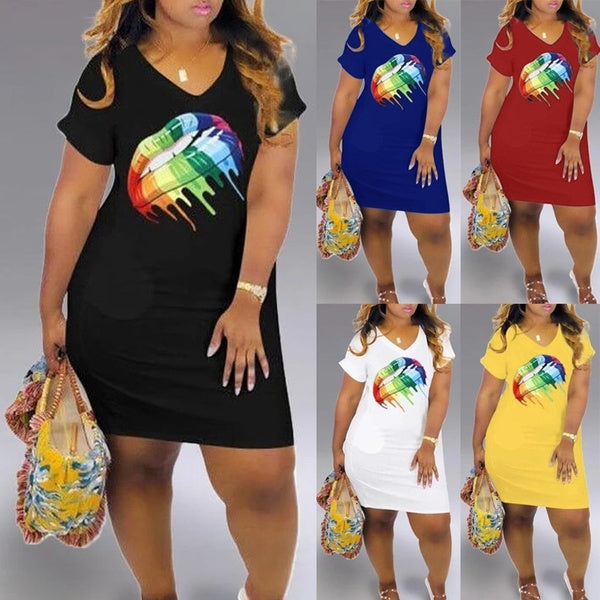 XS-5XL Women's Fashion Lips Print Summer Casual V-Neck Short Sleeve Short Sexy Dress Plus Size