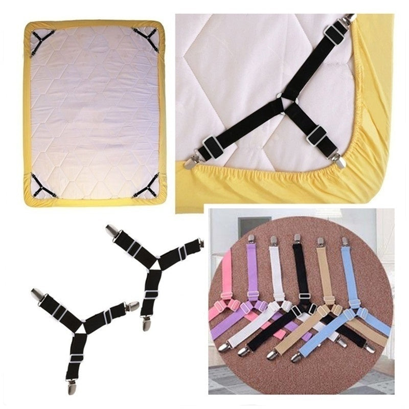 6Colors Triangle Bed Mattress Sheet Clips Grippers Straps Suspender Elastic Fastener Holder