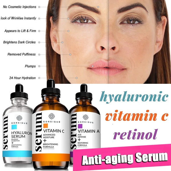Vitamin-C Retinol and Hyaluronic-Acid Serum for Anti Wrinkle and Dark Circle Remover  All Natural and Moisturizing