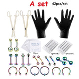 20\22\42Pcs Body Piercing Jewelry Needles Kit Sex Belly Tongue Eyebrow Nipple Lip Nose Disposable Body Piercing Jewelry Tool Sets
