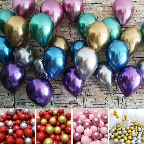 5/10/16pcs 12inch Glossy Metal Pearl Latex Balloons Wedding Balloon Birthday Graduation Party Decor Globos Thick Chrome Metallic Color Inflatable Air Balls