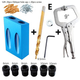 New Arrival 7 Types 6-10mm/11mm/12mm/12mm/14mm Woodworking Pocket Hole Jig Kit Angle Drill Guider Locator Tools Kit for DIY Carpentry