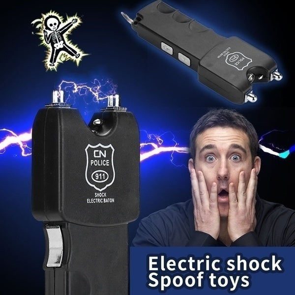 Funny Portable Spoof Shock Toys Electric Baton Stun Gun Rechargeable With Safety Disable Pin LED Flashlight