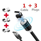 'The latest technology' 1M / 2M can rotate 360 degrees magnetic adsorption round mobile phone USB cable & plug, stylish '3 in 1' multifunctional fast charger, chic car phone computer USB port charger magnetic blind suction plug mobile phone accessories