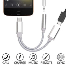 Load image into Gallery viewer, USB-C Type C To 3.5mm Aux Audio Charging Cable Adapter Splitter Headphone Jack