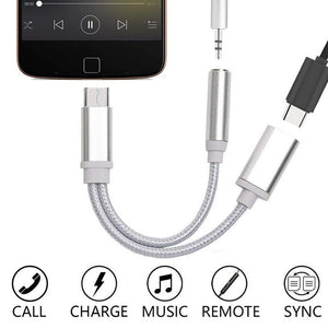 USB-C Type C To 3.5mm Aux Audio Charging Cable Adapter Splitter Headphone Jack