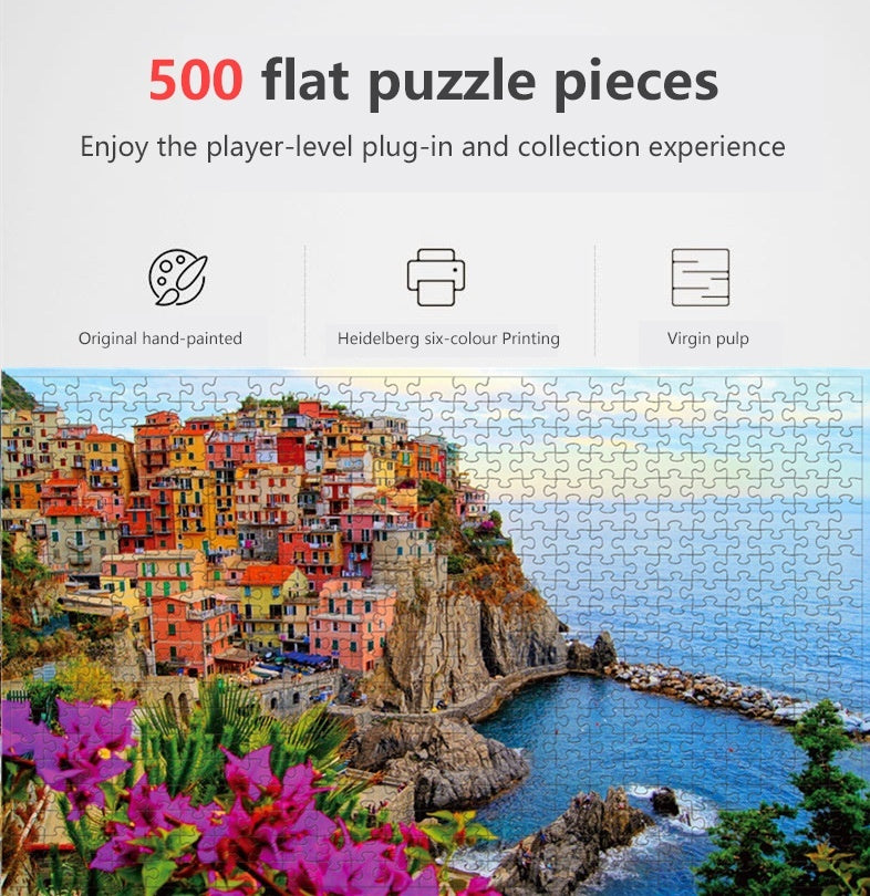 500-piece IQ Challenge Puzzle For Adult Or Children Education Puzzle City And Wild Landscape Jigsaw Puzzle