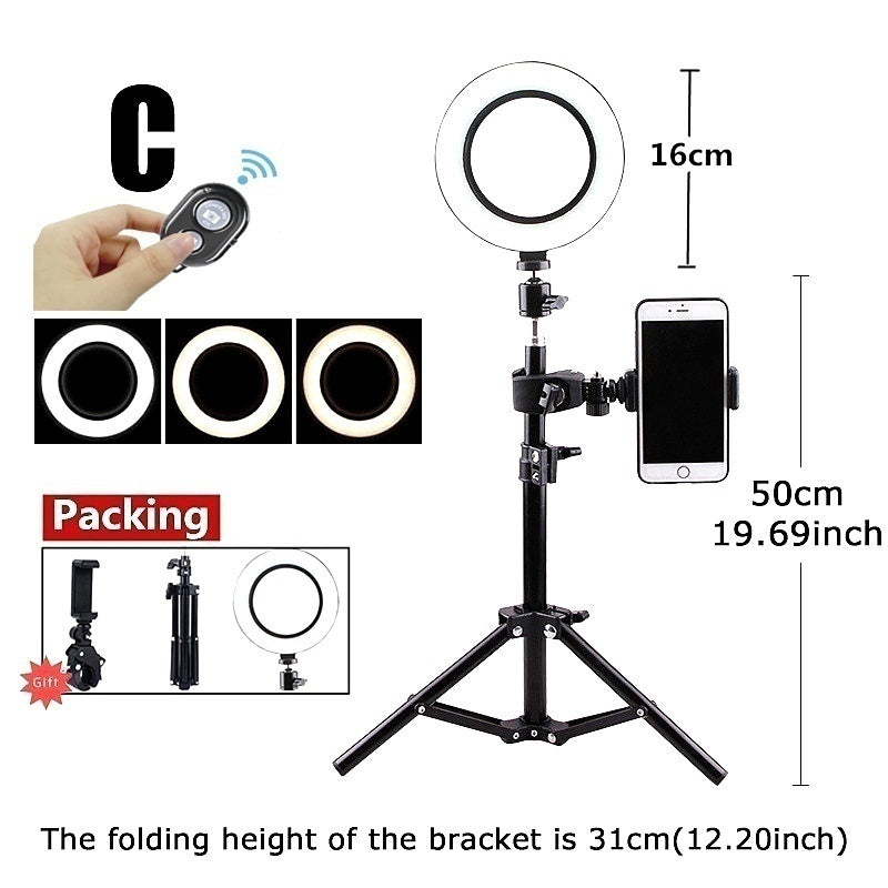New Led Light Tripod Ring Light Led Lights 16/26cm Led Ring Light Tripod Light Led Ring Light with Stand Photography LED Selfie with Tripod Ring Fill Light (6 Size for Choice)