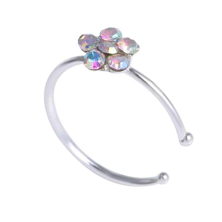 2Pcs/lot 12 Colors Small Thin 5 Clear Rhinestone Crystals Flower Fake Septum Piercing Nose Rings & Studs Faux Clip Nose Hoop Body Jewelry