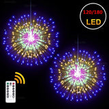 1/2 PCS Fairy Tale String Lights, 120/180LED Dandelion Firework Lights, Battery-powered Hanging Starburst Lights, 8 Dimming Modes and Remote Control Waterproof Copper Wire Lights, Household Outdoor Christmas Lights