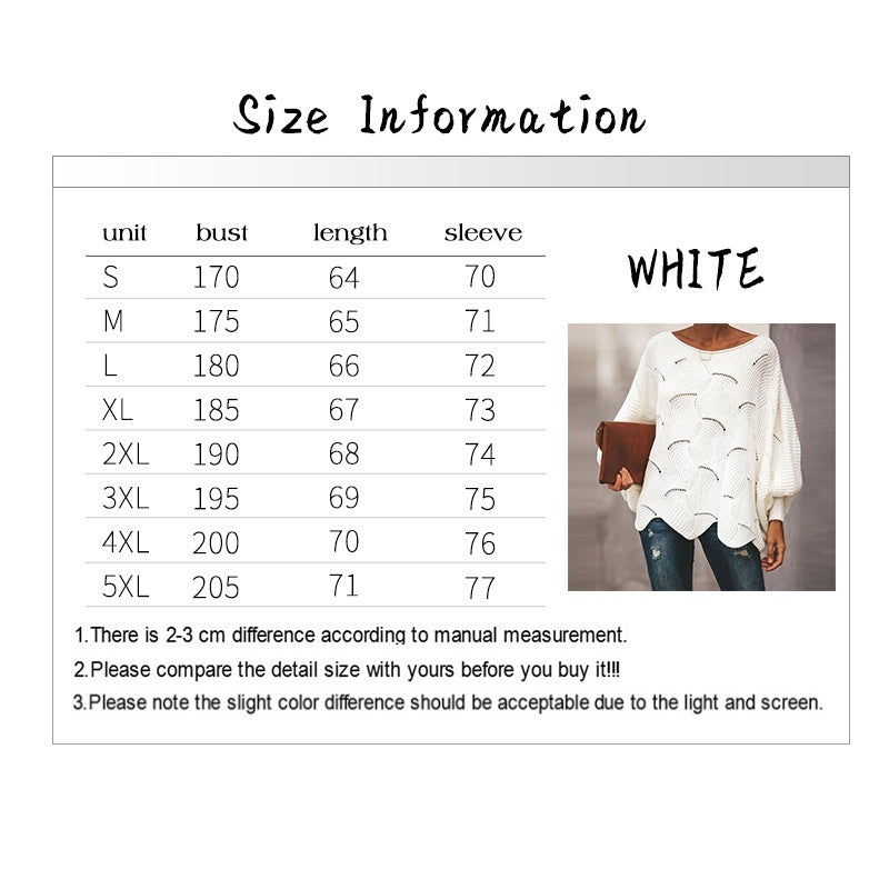 Women Sweaters Casual Plus Size Pure Color Hollow Out Bat Sleeve Loose Sweater Autumn Winter Ladies Pullovers Tops