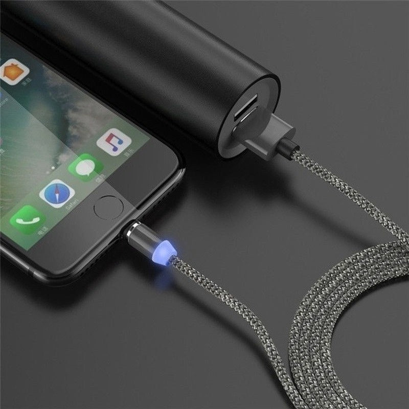 1 Cable+3 Plugs  New Quick Magnetic USB-C Type C/IOS/Micro USB 360 Round Fast Charger Cable