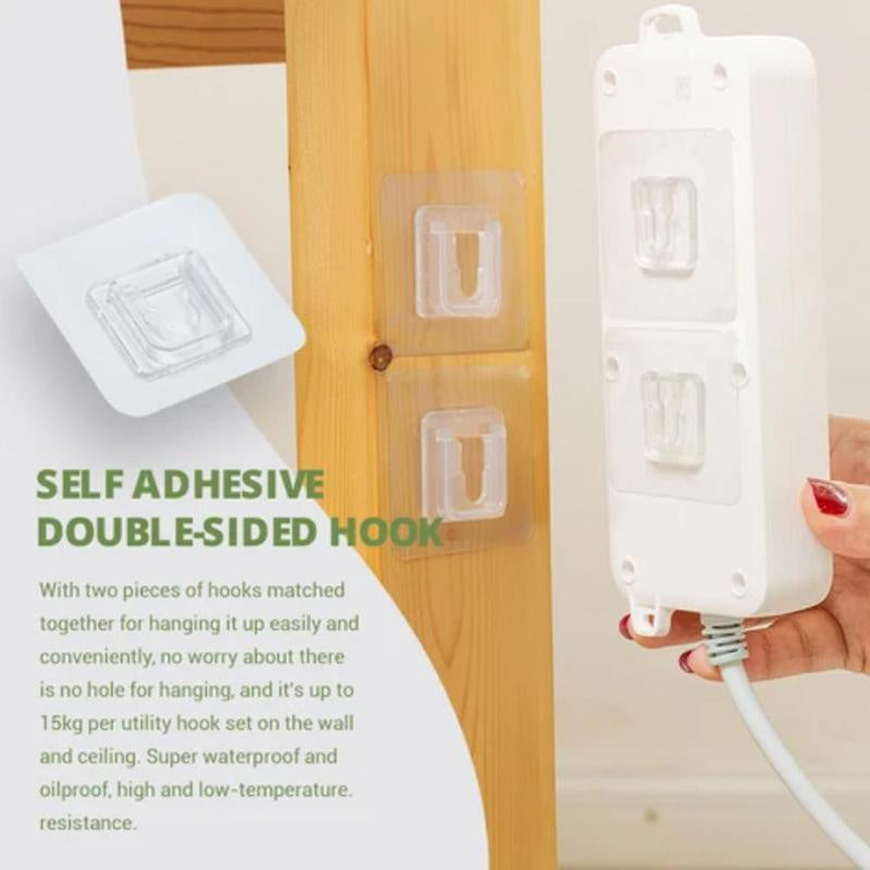 100 Pairs Double Adhesive Tape Wall Hooks Hanger Strong Transparent Suction Cup Sucker Wall Storage Holder For Kitchen Bathroom Wall Hooks