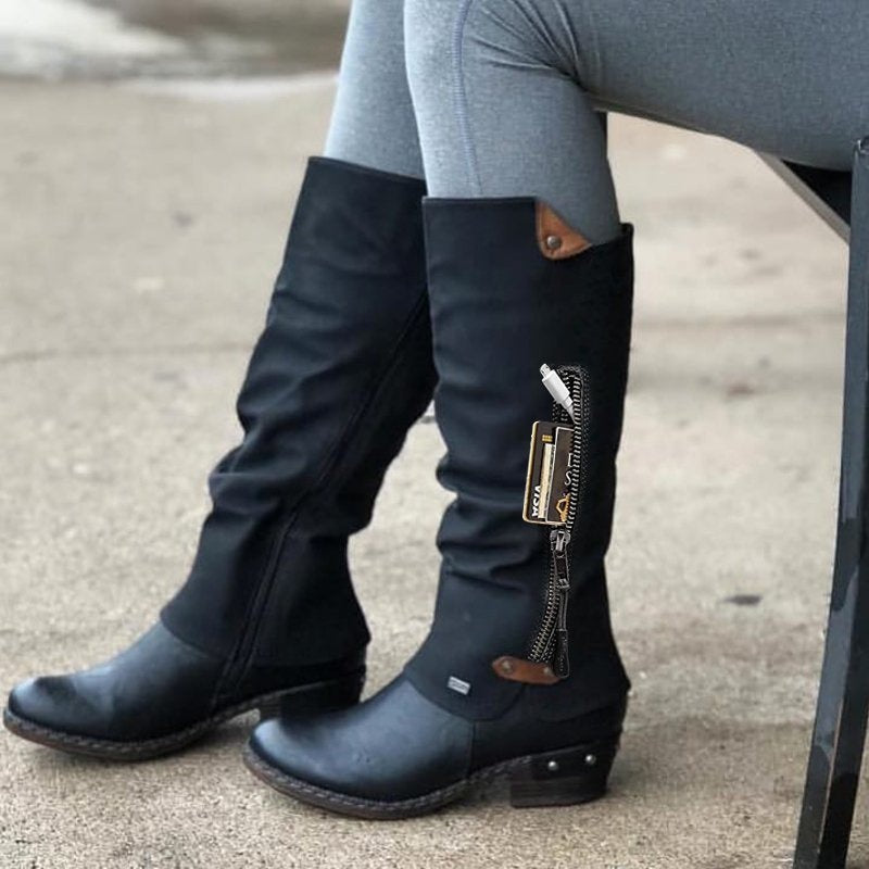 Fashion Autumn Winter Women's Vintage Leather Knee Heel Boots Knight Boots for Women Low Heel Riding Boots Casual Outdoor Motorcycle Boots Botas Femininas