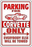 CORVETTE Parking Sign with Graphic 3