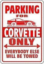CORVETTE Parking Sign with Graphic 4
