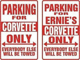 CORVETTE Personalized Parking Sign