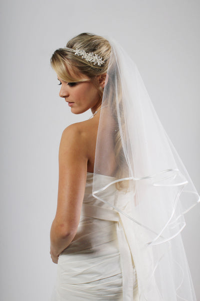 Bridal Apparel Crystal Scatter Ribbon Edge Veil || CGAR003