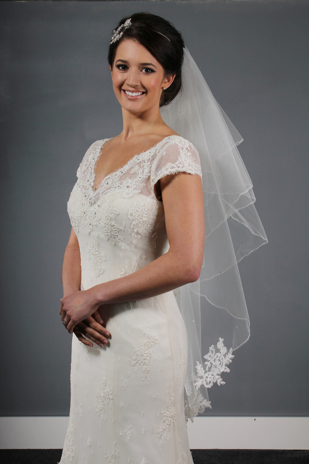 Bridal Apparel Corded Lace Appliqué Veil || CGC346B