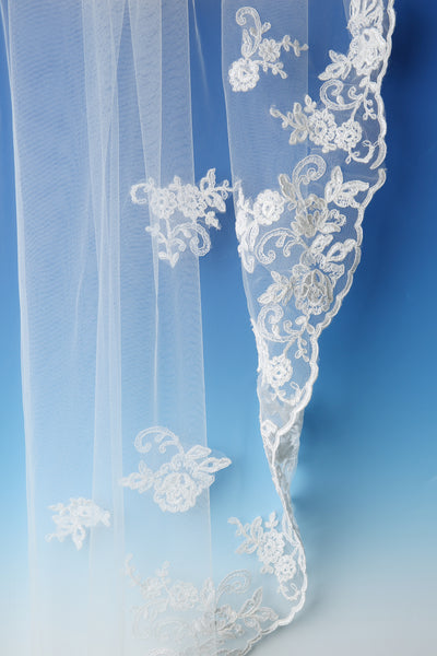 Bridal Apparel Corded Lace Train Veil || CGC511A