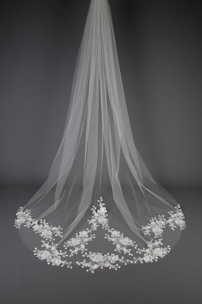 Bridal Apparel Sparkling Floral Lace Train Veil || CGC546C