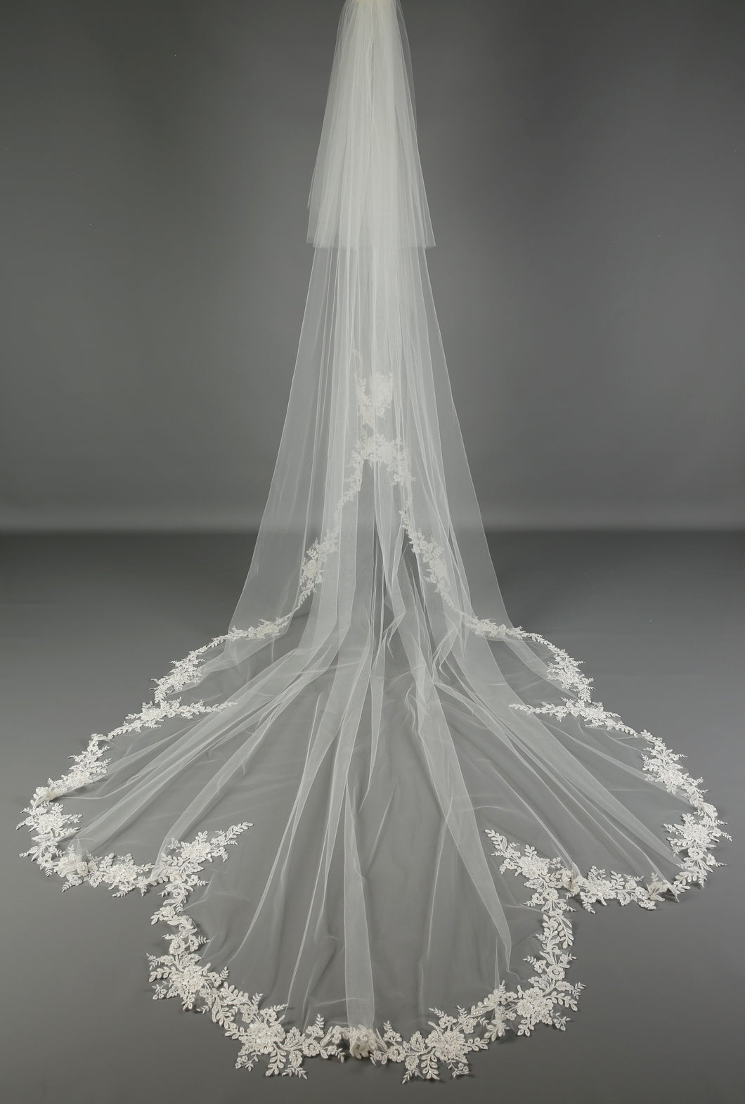 Bridal Apparel Scalloped Statement Train Veil || CGC560A