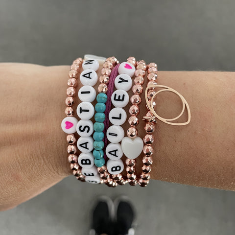 Faceted Rose Gold Ball Name Bracelets (7 Letters)