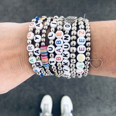 Silver Ball Name Bracelets (8-15 Letters)