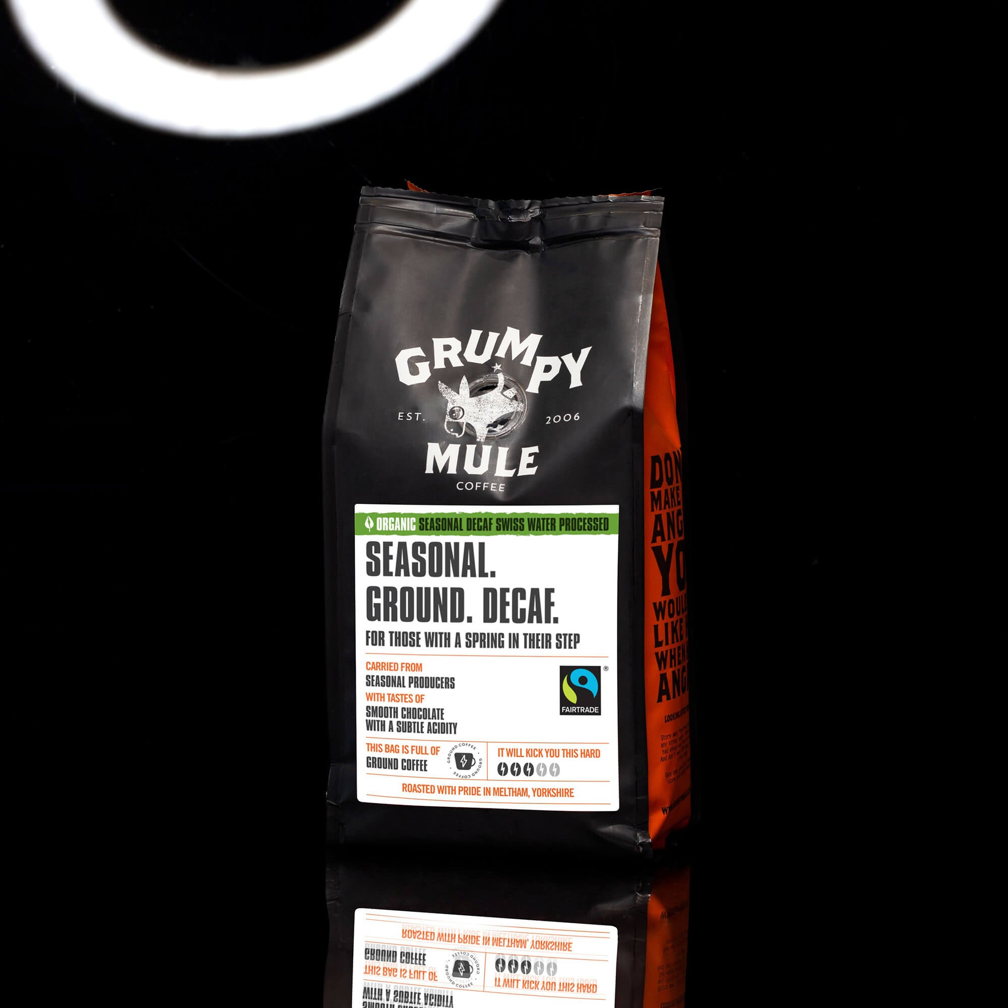 Organic Seasonal Decaf Swiss Water Processed Ground Coffee - Grumpy Mule