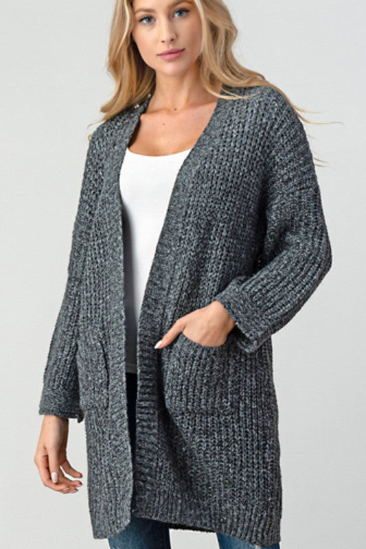 Words of Love Ocean Knit Long Cardigan Sweater - Charcoal