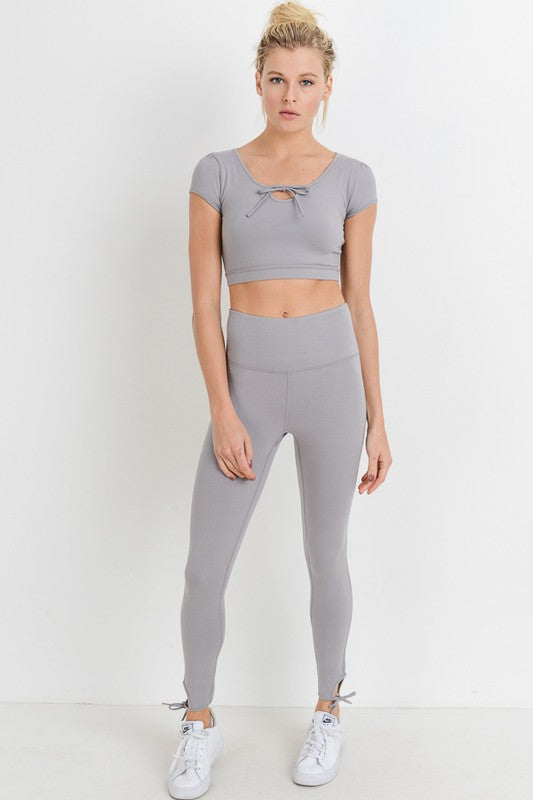 Bow Out High Waisted Ankle Tie Leggings