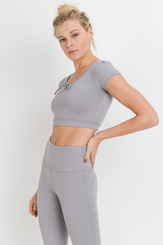 Bow Out Form-Fit Tie Crop Top