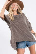 Wide Roll Up Sleeve Boxy Knit Sweater