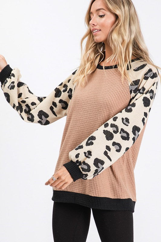 Runnin Wild Leopard Print Balloon Sleeve Knit Waffle Top