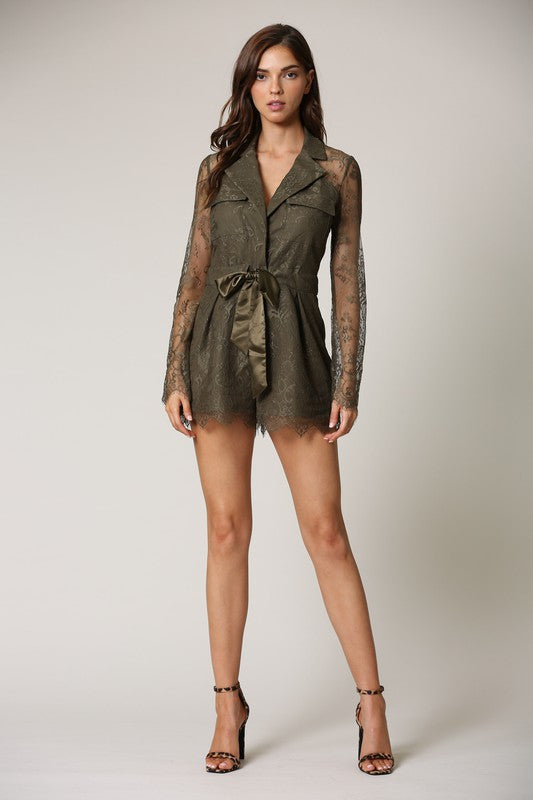 Lovely in Lace Olive Romper