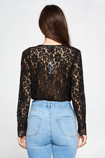 Angeletta Scallop Lace Long Sleeve Bodysuit - Black