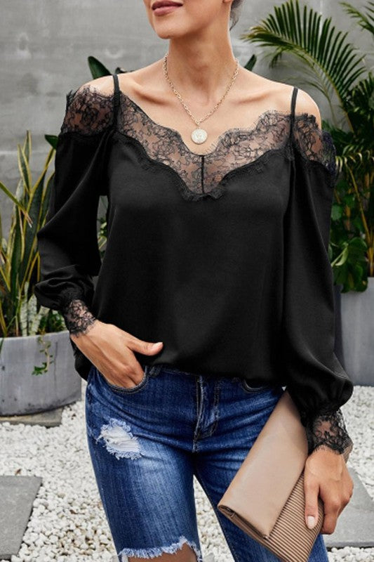 Cold Shoulder Lace Top - Black