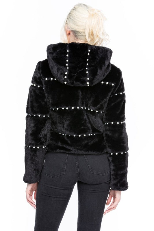 Precious As A Pearl Hooded Jacket - Black