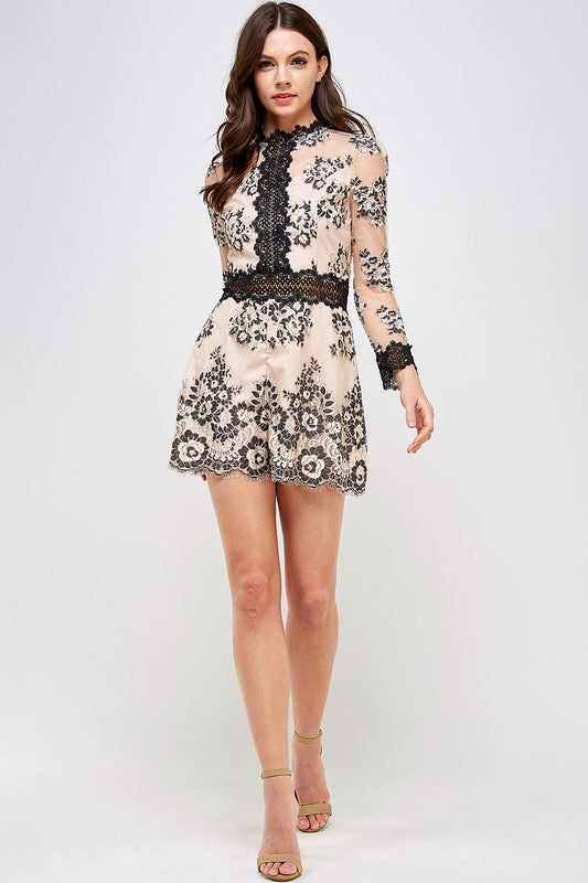 Alima Two-Tone Lace Romper