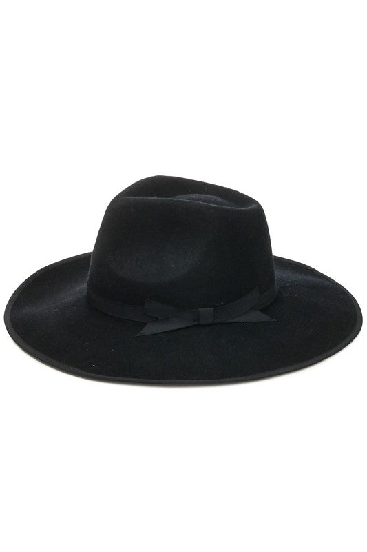 Ribbon Detail Wool Cowboy Hat