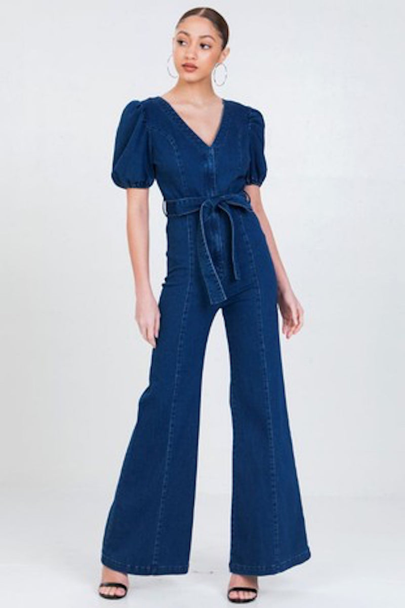 Act Puff Stretchy Denim Jumpsuit
