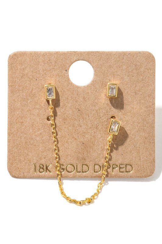 Tell Me About It Stud Chain Earrings