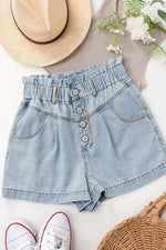 Paperbag High Waisted Denim Shorts