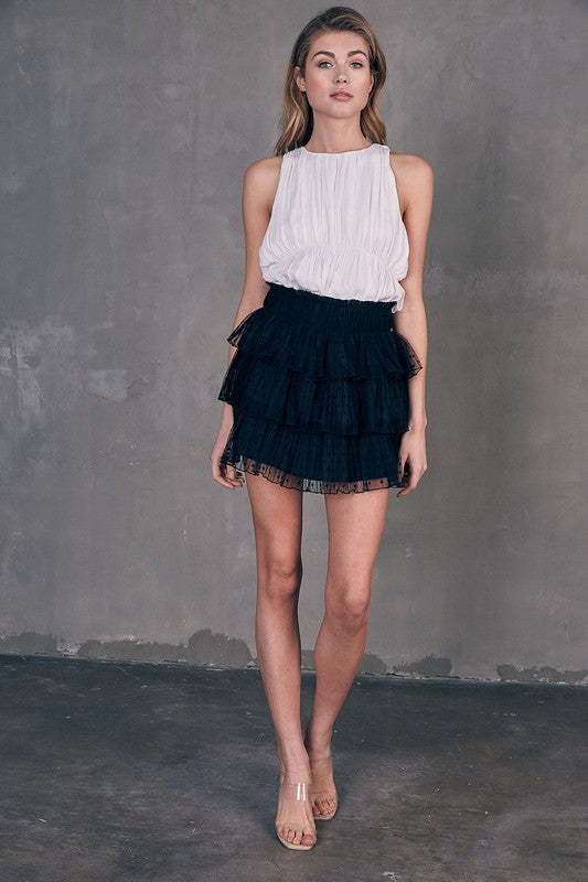 On The Spot Mesh Tiered Polka Dot Mini Skirt