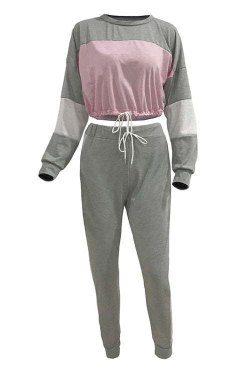 Fueled By Coffee Long Sleeve Splicing Two Piece Set - Gray