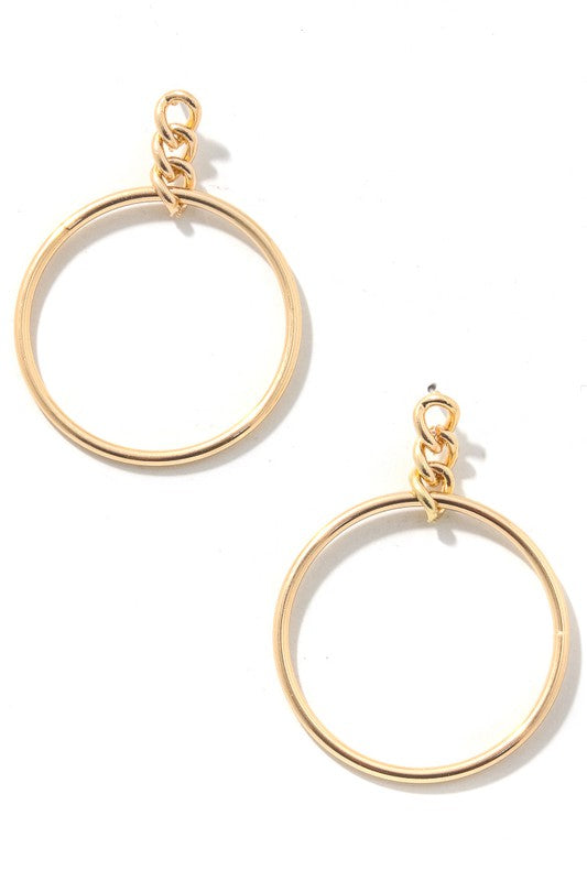 Hoop Drop Chain Earrings