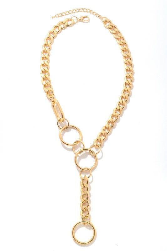 Simple Chain Link Lariat Necklace