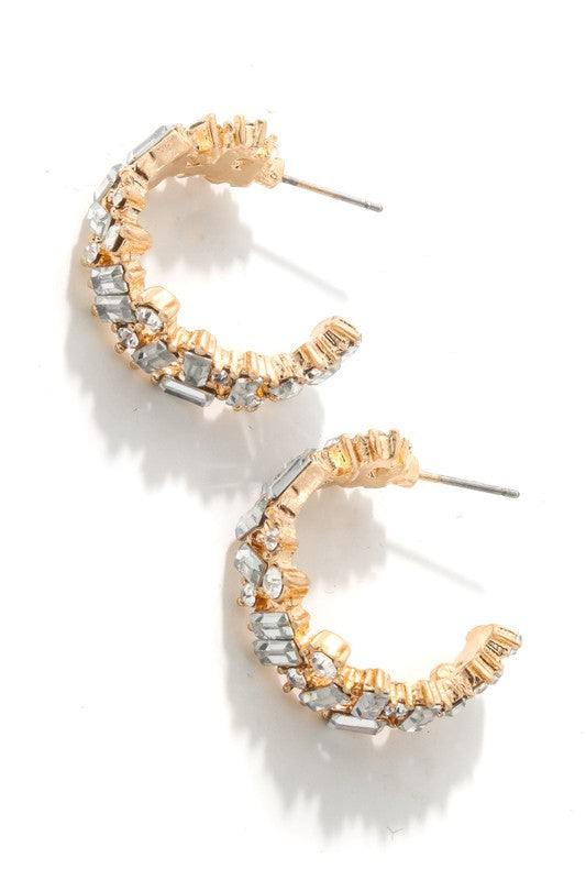 Baguette Hoop Earrings - Gold